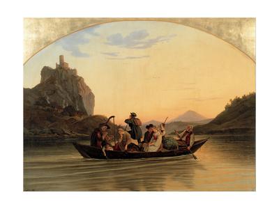 Crossing at Schreckenstein, 1837 Giclee Print by Adrian Ludwig Richter