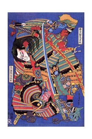 The Warrior Kengoro Giclee Print by Katsushika Hokusai