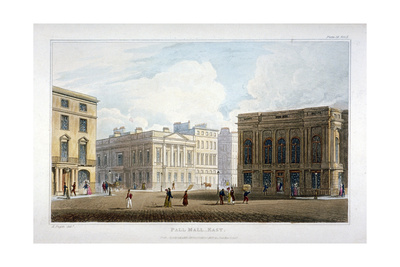 View of Pall Mall East, Westminster, London, 1827 Giclee Print by Augustus Charles Pugin
