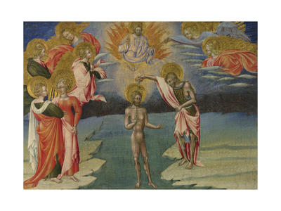 The Baptism of Christ (Predella Pane), 1454 Giclée-tryk af Giovanni di Paolo