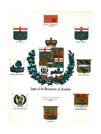 Coats of Arms and Flags of Canada Giclee Print