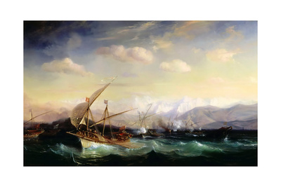 Andrea Doria Dispersing the Spanish Fleet Ahead of the Var Mouth in 1524 Giclee Print by Théodore Gudin