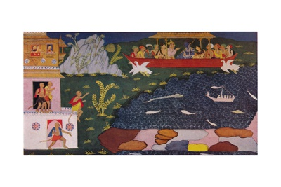The Arrival of Rama and Sita in the Aerial Car, 1937 Giclee Print