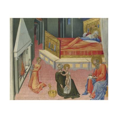 The Birth of Saint John the Baptist (Predella Pane), 1454 Giclée-tryk af Giovanni di Paolo