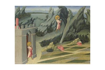 Saint John the Baptist Retiring to the Desert (Predella Pane), 1454 Giclée-tryk af Giovanni di Paolo