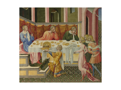 The Head of John the Baptist Brought to Herod (Predella Pane), 1454 Giclée-tryk af Giovanni di Paolo