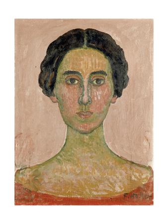 Portrait of Valentine Godé-Darel (Head of French Woma) Gicléetryck av Ferdinand Hodler