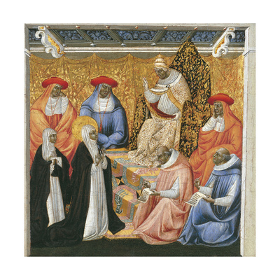 Saint Catherine of Siena before the Pope at Avignon Giclée-tryk af Giovanni di Paolo