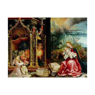 The Isenheim Altarpiece, Central Panel: Concert of Angels and Nativity, 1506-1515 Giclee Print by Matthias Grünewald