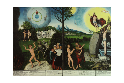 Damnation and Redemption. Law and Grace Giclee Print by Lucas Cranach the Elder