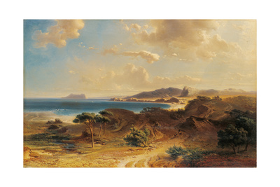 Beach at Estepona with a View of the Rock of Gibraltar Giclee Print by Fritz Bamberger