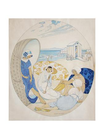 Chatting on the Danish Beach Giclee Print by Gerda Wegener