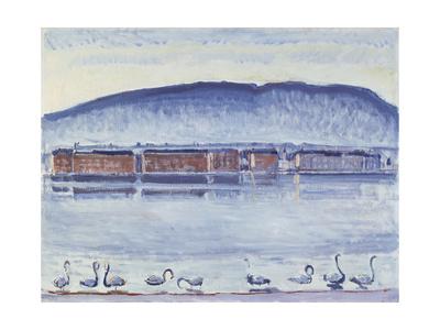 Lake Geneva with Mont Salève and Swans Gicléetryck av Ferdinand Hodler