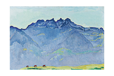 View of the Dents-Du-Midi from Champéry Gicléetryck av Ferdinand Hodler