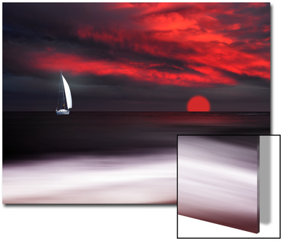 White Sailboat and Red Sunset Arte en acrílico