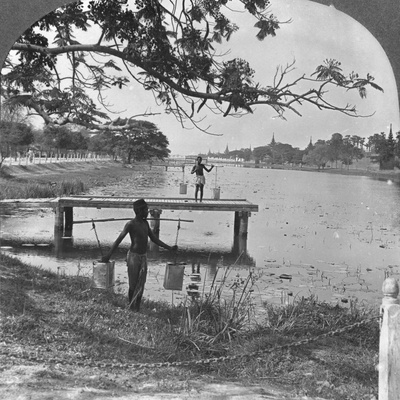 West Side of the Fort, Showing the Moat, Mandalay, Burma, 1908 Photographic Print