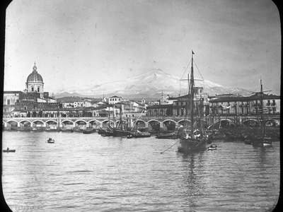 Catania and Mount Etna, Sicily, Italy, Late 19th or Early 20th Century Photographic Print