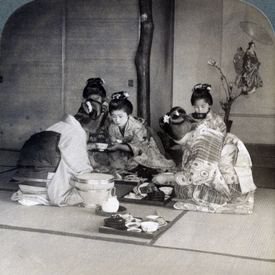 Geishas at Dinner, Tokyo, Japan, 1904 Photographic Print by  Underwood & Underwood