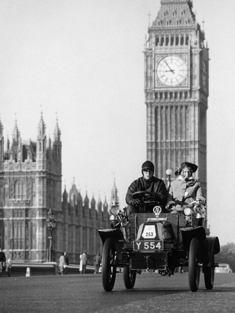 1903 De Dion on the London to Brighton Run with Big Ben Behind, London Photographic Print