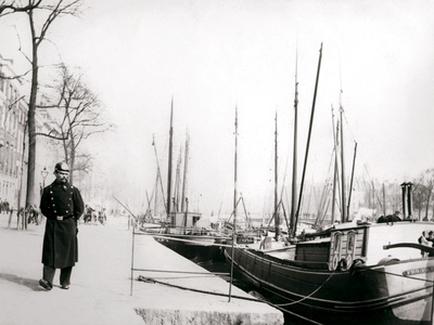 Policeman by a Canal, Rotterdam, 1898 Photographic Print by James Batkin