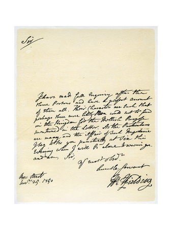 Letter from Henry Fielding to Hutton Perkins, 25th November 1750 Giclee Print by Henry Fielding