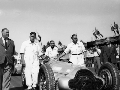 Alfred Neubauer with Mercedes Car at the Start of the Italian Grand Prix, Monza, 1938 Photographic Print