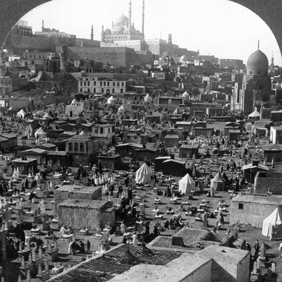 Citadel and Mohammed Ali Mosque Beyond Bab-El-Wezir Cemetery, Cairo, Egypt, 1905 Photographic Print by  Underwood & Underwood