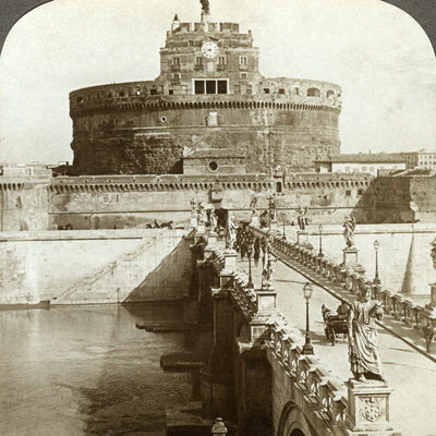 Bridge and Castle of St Angelo, Rome, Italy Photographic Print by  Underwood & Underwood