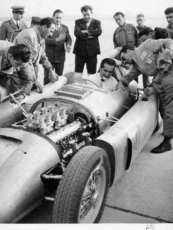 Alberto Ascari at the Wheel of the New Lancia Grand Prix Car, 1955 Photographic Print