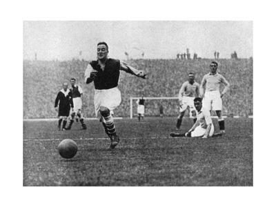 Arsenal Footballer Alex James Passes Three Manchester City Players, C1929-C1937 Giclee Print