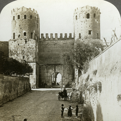Gate of St Sebastian in the Aurelian Wall, Rome, Italy Photographic Print by  Underwood & Underwood