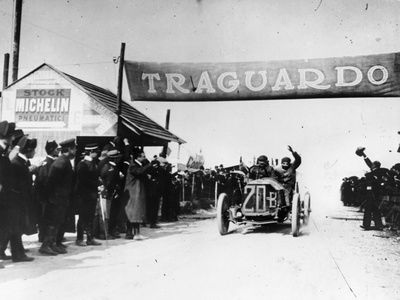 Felice Nazzaro in a Fiat Winning the Targo Florio Race, Sicily, 1907 Photographic Print