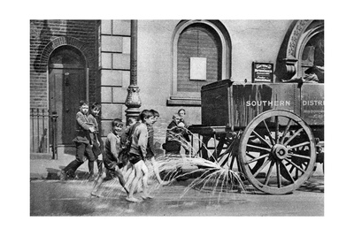 Boys Following the Poplar Borough Council Water Cart, London, 1926-1927 Giclee Print