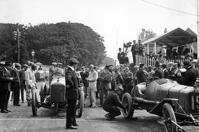 Competitors at the Isle of Man TT, 1914 Photographic Print