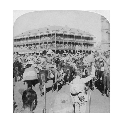 Field Marshal Lord Roberts and Staff Cheering the Queen, Pretoria, South Africa, 5th June 1900 Giclee Print by  Underwood & Underwood