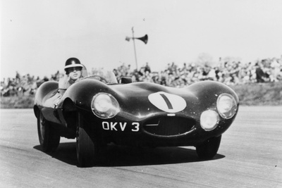 Mike Hawthorn Driving a D Type Jaguar, C1955-C1956 Photographic Print