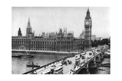 The Houses of Parliament and Westminster Bridge, London, 1926-1927 Giclee Print