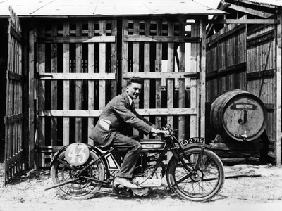 Billy Hollowell on a Norton Ohv Motorbike, 1922 Photographic Print