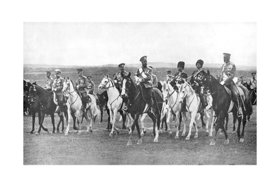 Nicholas II and Supporting Officers on Horseback, C1900 Giclee Print