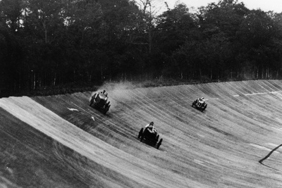 Louis Zborowski Passing Humphrey Cook's Ballot by Skidding Above Him, Brooklands Photographic Print