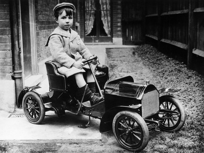 Boy in 1908 Mercedes 28/32 Hp Pedal Car, C1908 Photographic Print