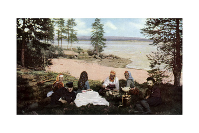 Karelians Having Tea by a River, Near Archangel, Russia, C1930S Giclee Print