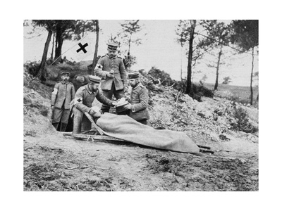 A Wounded German Soldier at a Dressing Station, World War I, 1915 Giclee Print