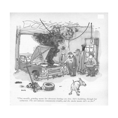 """""""That metallic grinding means her throwout bearings are shot. She's backr…"""" - New Yorker Cartoon Giclee Print by George Booth"""