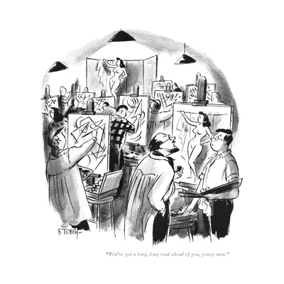 """You've got a long, long road ahead of you, young man."" - New Yorker Cartoon Giclee Print by Barney Tobey"