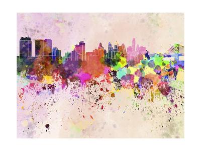 Philadelphia Skyline in Watercolor Background Prints by  paulrommer
