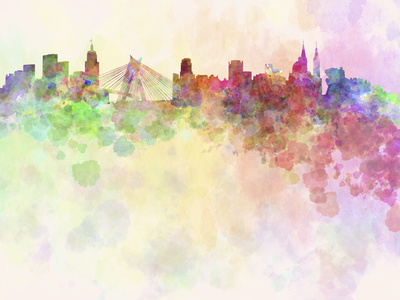 Sao Paulo Skyline in Watercolor Background Prints by  paulrommer