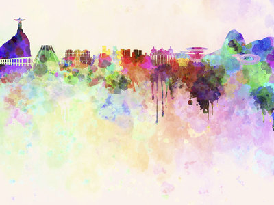 Rio De Janeiro Skyline in Watercolor Background Prints by  paulrommer