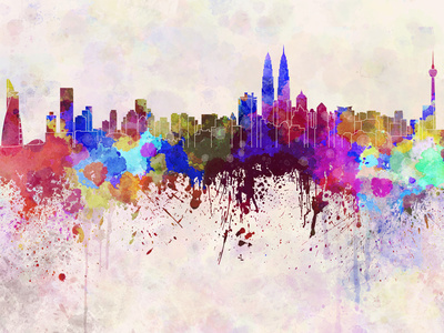 Kuala Lumpur Skyline in Watercolor Background Poster by  paulrommer