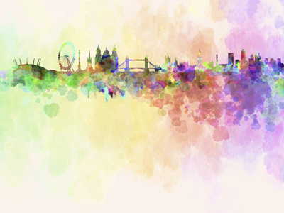 London Skyline in Watercolor Background Prints by  paulrommer